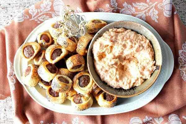 Oktoberfest Crescent Wrapped Bratwurst Bites - kudoskitchenbyrenee.com