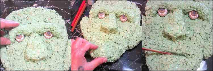 how to make frankenstein rice cereal halloween treat with gumball eyes kudos kitchen by renee