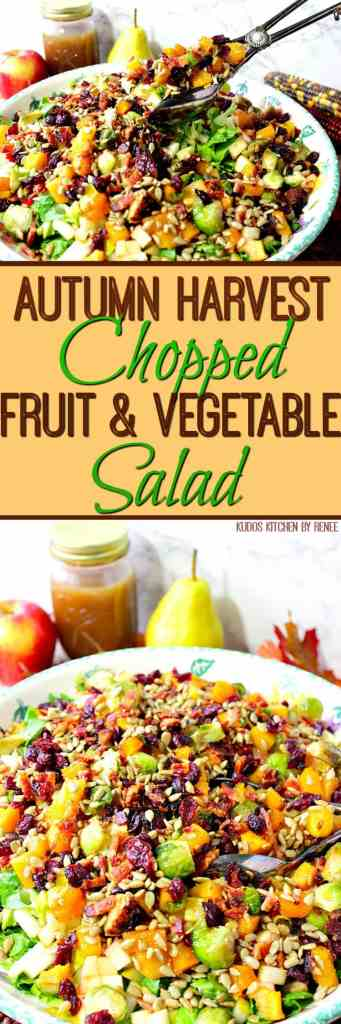 Autumn Harvest Chopped Fruit & Vegetable Salad with Pears, Apples, and Bacon | Kudos Kitchen by Renee