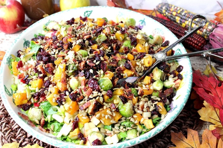 Autumn Harvest Chopped Fruit & Vegetable Salad with Bacon and Cranberries | Kudos Kitchen by Renee