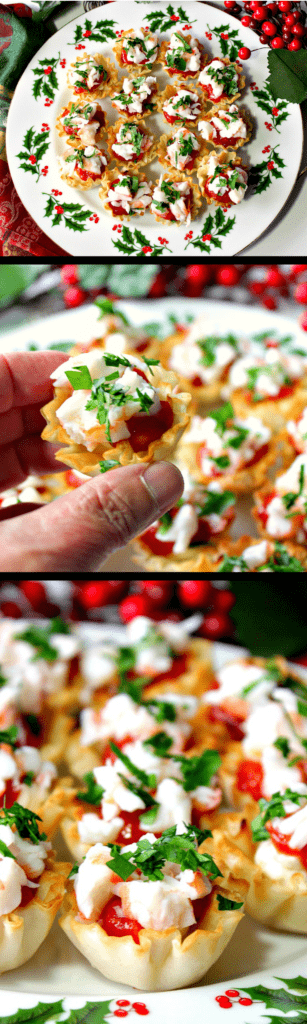 Festive Shrimp Cocktail Appetizer Bites with Cream Cheese and Homemade Cocktail Sauce | Kudos Kitchen by Renee