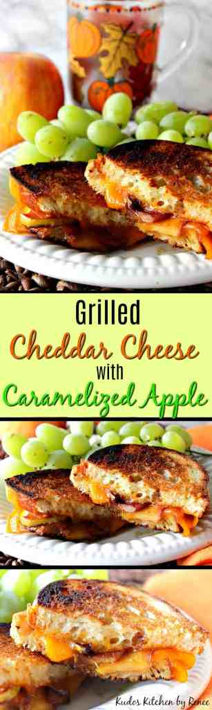 Grilled Cheddar Cheese Sandwich with Caramelized Apple and Sourdough Bread | Kudos Kitchen by Renee