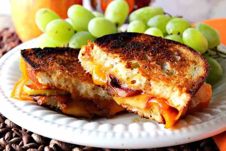 Grilled Cheddar Cheese Sandwich with Caramelized Apple - Kudos Kitchen by Renee