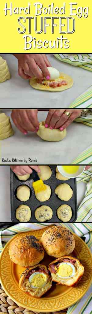 Hard Boiled Egg Stuffed Biscuits with Ham & Cheese | Kudos Kitchen by Renee