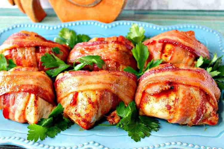 Smoky Sweet Bacon Wrapped Chicken Breasts