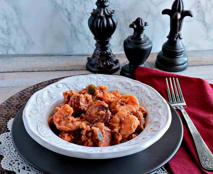 Sausage & Shrimp Jambalaya Kudos Kitchen Style - www.kudoskitchenbyrenee.com #sausage #shrimp #jambalaya # brownrice #cajunseasoning