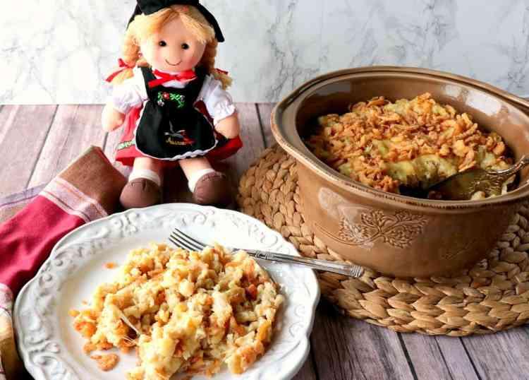 Layered German Spaetzle with Cheese & Crispy Onion Casserole - www.kudoskitchenbyrenee.com