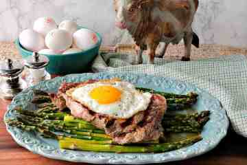Buttery Rich Steak & Eggs Over Asparagus - www.kudoskitchenbyrenee.com