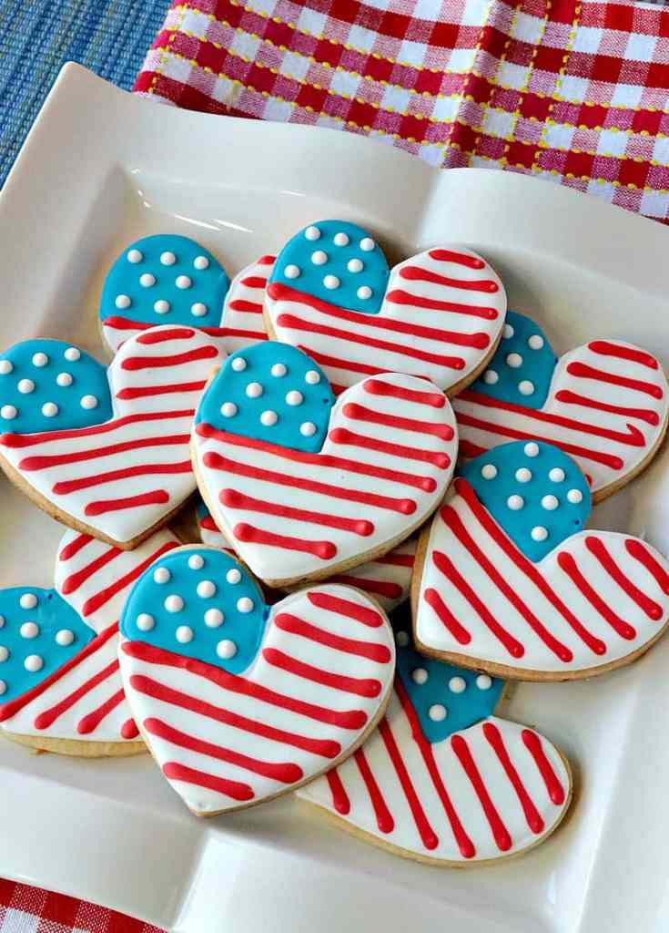 Patriotic Red, White, and Blue American Flag Heart Decorated Sugar Cookies - kudoskitchenbyrenee.com