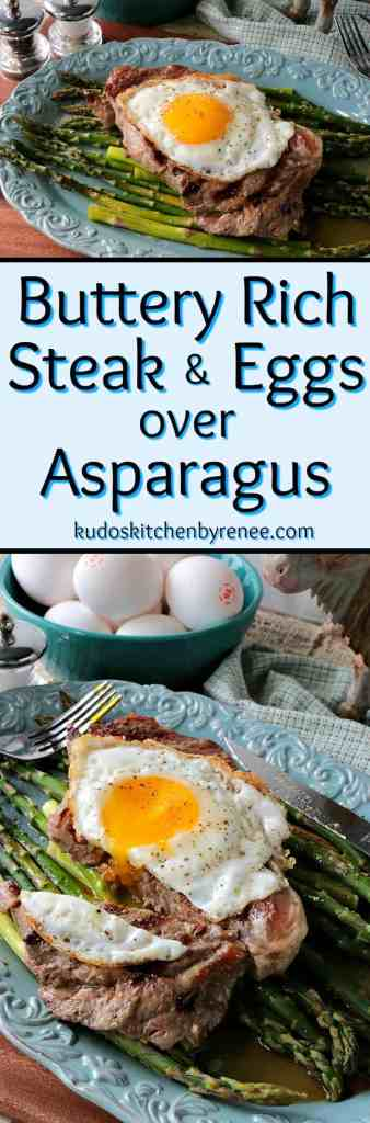 Buttery Rich Keto Steak & Eggs Over Asparagus - www.kudoskitchenbyrenee.com