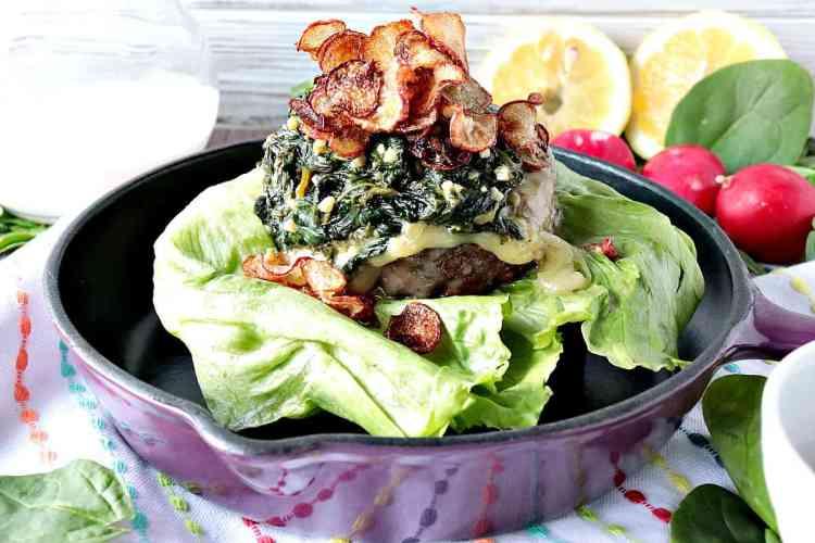 Ground Beef Burger with Creamy Lemon Spinach and Fried Radish Chips kudoskitchenbyrenee.com