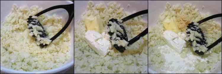 How to make Easy Cheesy Mashed Cauliflower Casserole with Peas, photo tutorial. - kudoskitchenbyrenee.com