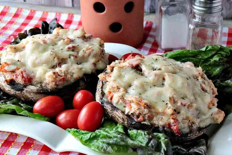 Speedy Keto Chicken Parmesan Stuffed Portobello Mushrooms - kudoskitchenbyrenee.com
