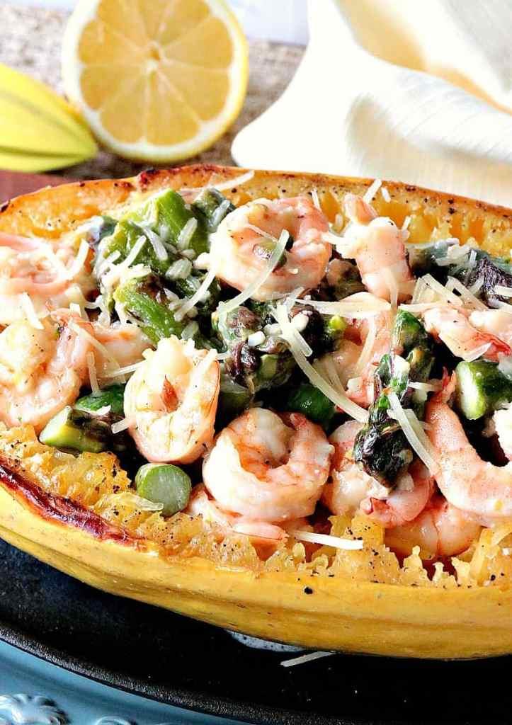Roasted Spaghetti Squash Shrimp Scampi. - kudoskitchenbyrenee.com