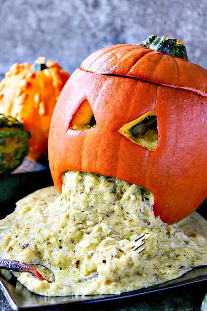 From looking at it, you might not think this Pesto Spaghetti Squash Puking Pumpkin is very crave-worthy until you take your first bite! Then all bets are off, and you just might eat yourself sick! LOL, Sorry! - kudoskitchenbyrenee.com