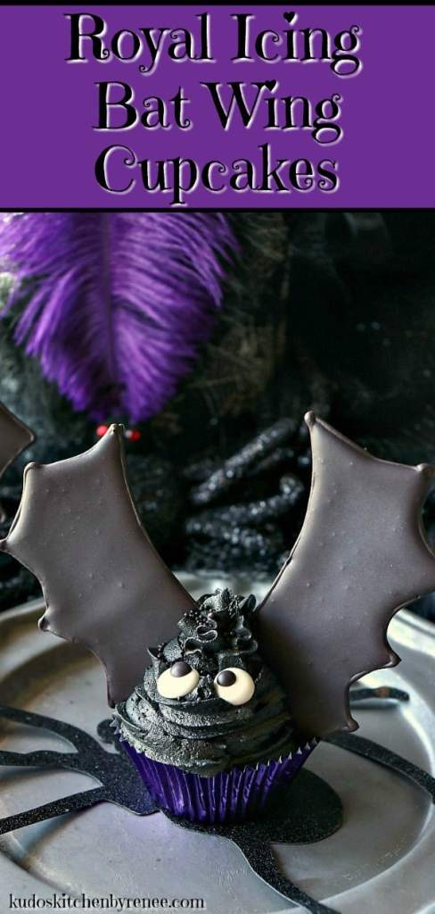 Take a bite out of these Royal Icing Bat Wing Cupcakes, before they take a bite out of you! You'll be glad you did because they're BATtastically delicious, and not at all threateningto make. Let me show you how. - kudoskitchenbyrenee.com