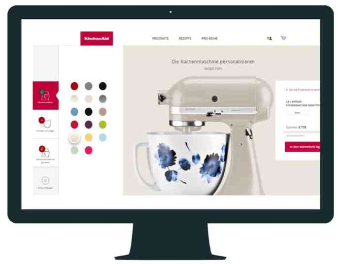 In an online configurator you can see all the personalization options of the KitchenAid food processor - even the diverse selection of mixing bowls. (Photo: KitchenAid)