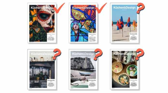 A comparison of the 2 previous Küchen & Design magazine issues with four new suggestions for our summer issue 2021. Which cover would you have chosen?  (Assembly: Küchen & Design Magazin / Thomas Neumann)
