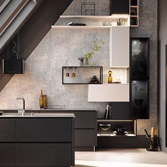 moderne küche in schwarz grifflos