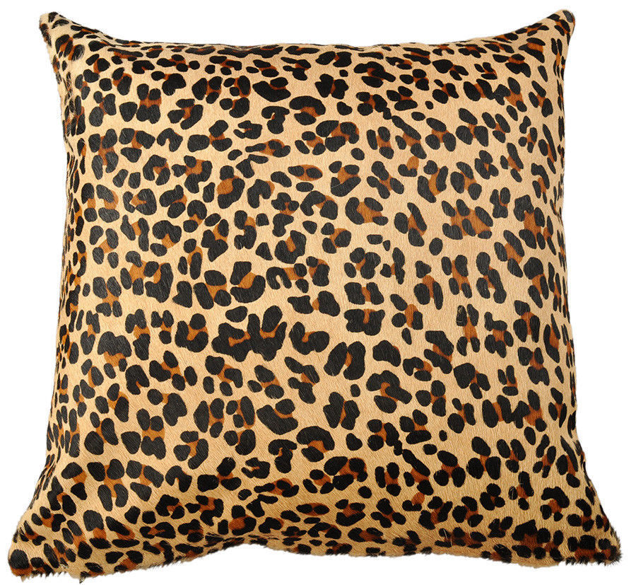 cowhide cushion cover brown with leo print 50 x 50 cm