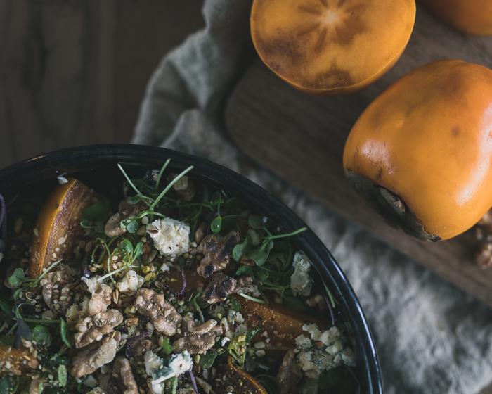 Persimonsalaatti | persimon | dukkah | salaatti  | ruokablogi