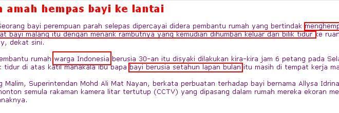Lagi kes penderaan pembantu rumah Indonesia