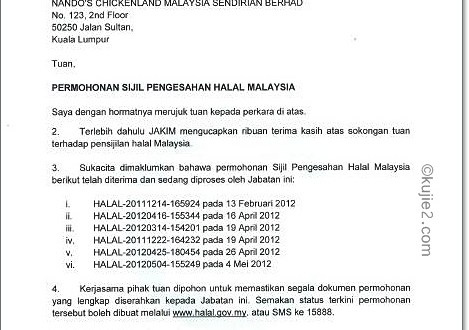 Sijil Halal Nando's Telah Tamat Tempoh