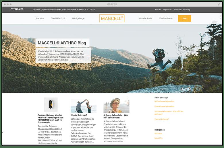 Kuki Design Portfolio Kunde MAGCELL Desktop Ansicht