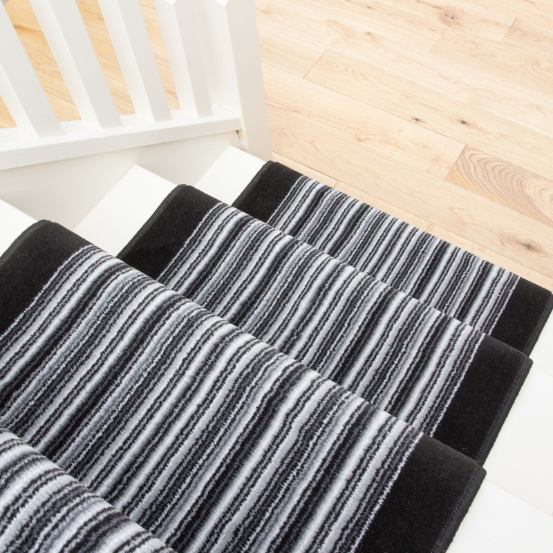 Black White Stripey Stair Carpet Runner Cut To Measure Kukoonrugs | Black And White Stair Carpet | Interior Design | Light Grey | Unusual | Design | Beautiful