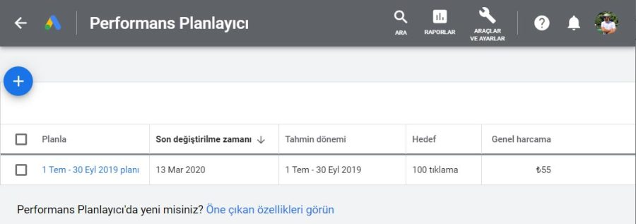 Google Performans Planlayııcı