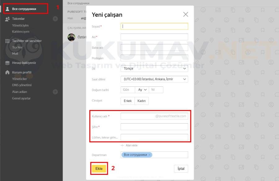 Yandex Kurumsal Mail Hesabı Ekleme