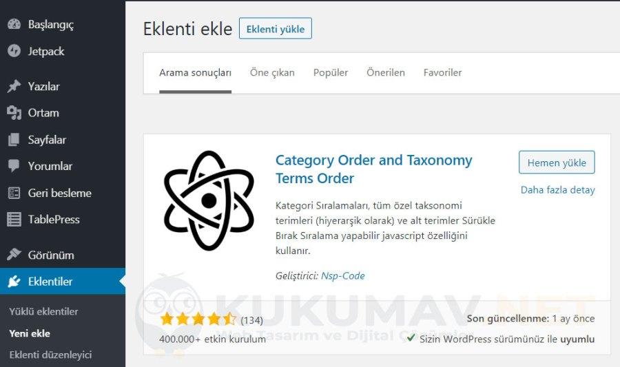 Wordpress kategori sıralama