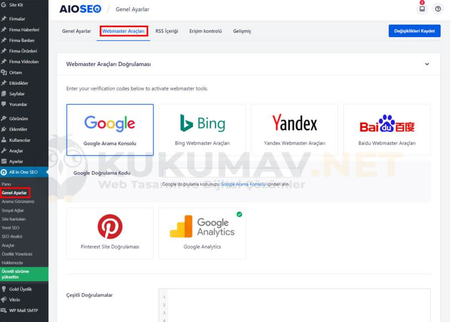 All in one seo pack webmaster araçları