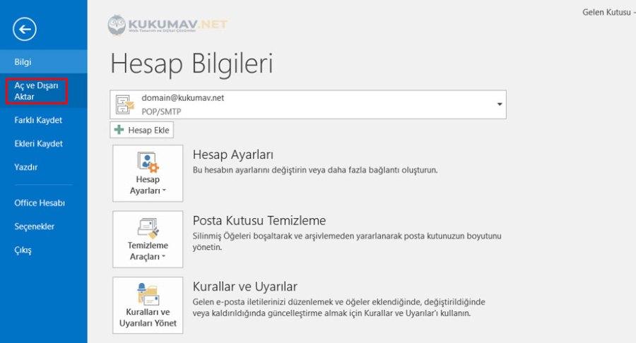 Outlook Yedek Alma