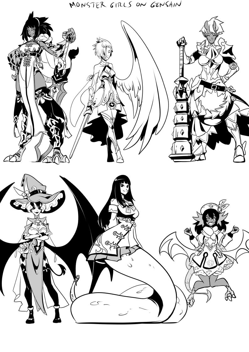 Monster girls on Genshin