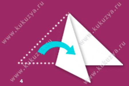 Как сложить бумагу для снежинки из 6 лучей, шаг 4