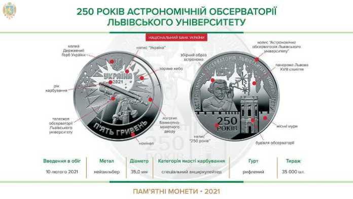 НБУ вводить в обіг пам'ятну монету до 250-річчя Астрономічної обсерваторії Львівського університет. Фото: НБУ