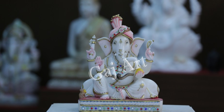 Ganpati-God-marble-Statue-colorful-2