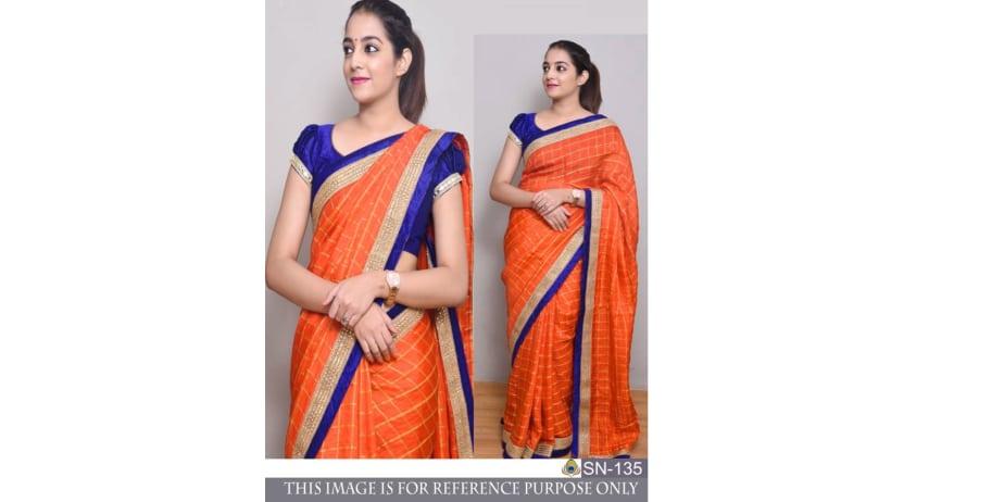 Srk-Orange-Color-Check-Silk-Saree