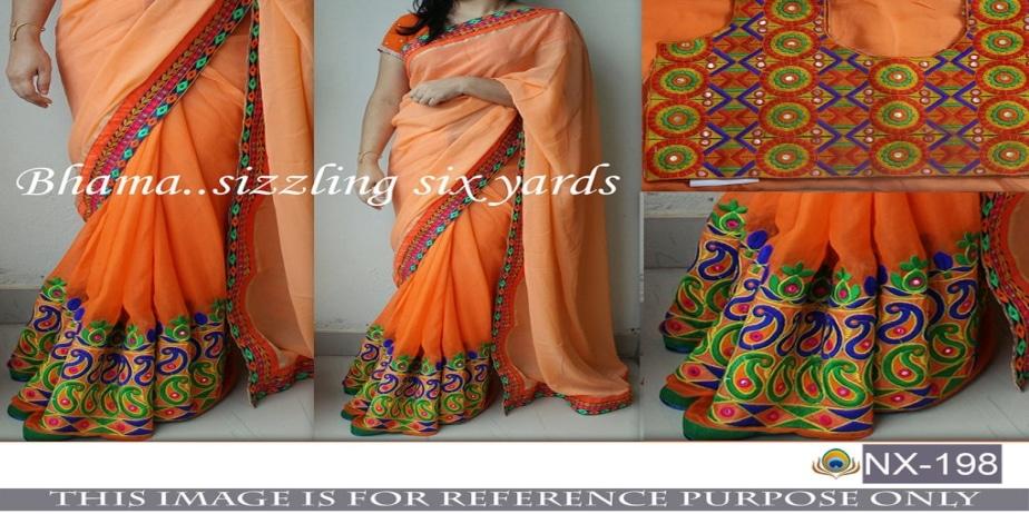 Srk-Orange-Color-Georgette-Embroidered-Saree