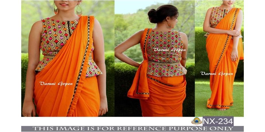 Srk-Orange-Color-Georgette-Plain-Saree