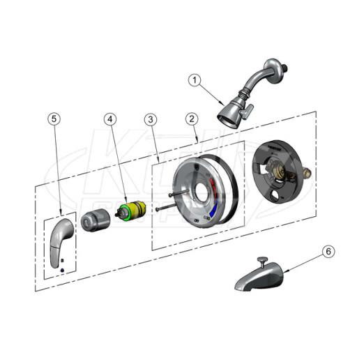 t s brass b 3200 shower valve parts breakdown