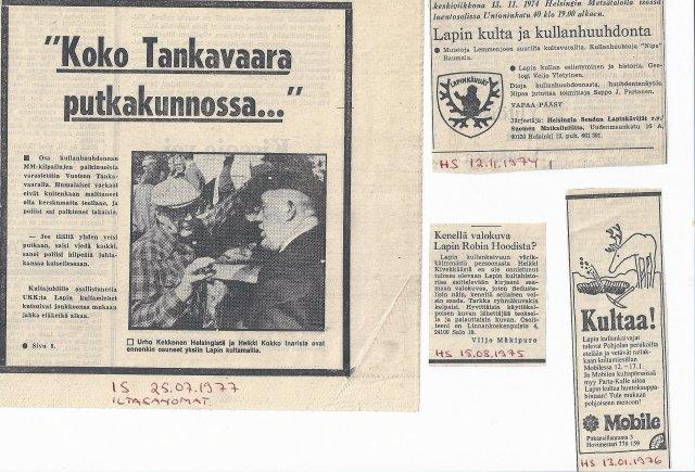 Lapin kultaa ja kullankaivua tuotiin monella tavalla esille 1970. Sen seurauksena tuhannet tulivat Tankavaaran kultakisoihin, joka taas nosti tapahtuman lehtien etusivuille. Kuvissa tuon iloisen 70-luvun tapahtumia.
