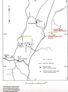 Luttojoen latvojen ja Laaninlan alueen kultakaivokset, isojen hippujen löytöpaikat ja kultahistorian kohteet. Karttapohja on Stigzeliuksen kirjasta Kultakuume, täydennykset Seppo J. Partanen