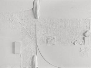 Armando Marrocco, Bianco mediterraneo, 1963. Polimaterico su tavola, 50 x 70 cm