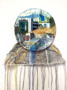 Anna CAPOLUPO - Olivetti's Dream 3 - 2016 - tecnica mista su carta intelaiata e ricamo su tela cm 21x70