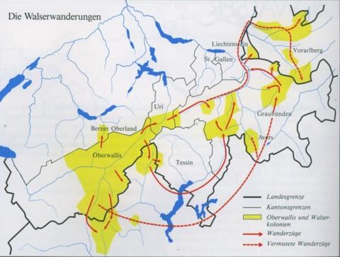 Quelle der Karte: Walliser Geschichte, Bd. 1+2, Arthur Fibicher www.walser-alps.eu/geschichte