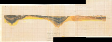 Archäologisches Museum Hamburg: Profilzeichnung der Grabung aus den 80er Jahren der Hammaburg