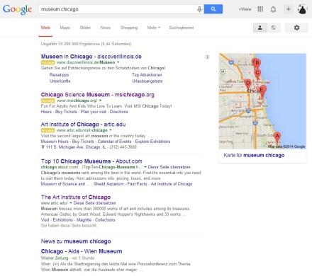Suchbegriffe bei Google: Museum + Chicago