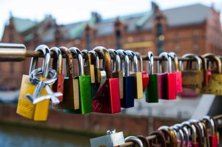 Schlösser der Liebe  in der Speicherstadt Hamburg